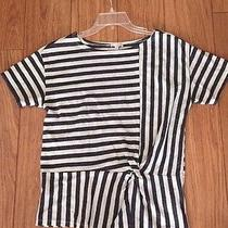 Ladies Gap Short Sleeve Grey and Beige Striped Shirt  Size M Photo