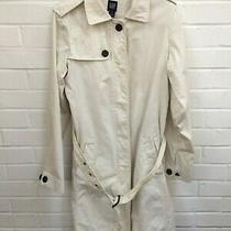 Ladies Gap White Cotton Button Belted Winter Trench Coat Size Medium R7-Cf Photo