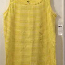 Ladies Gap Yellow With White Pin Stripe Vest Top Size Large - Bnwt Photo