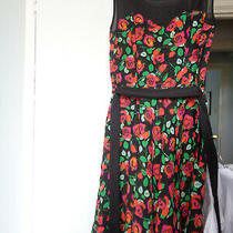 Ladies Girls Gorgeous Prom Dress Size 8 h&m Divided Black  Pink Roses Photo