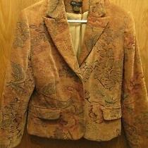 Ladies' Grace Elements Soft Brown Textured Brocade Blazer Jacket Sz 8 Photo