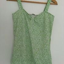 Ladies Green and White Flower Print Vest Top m&co Size S Excellent Condition Photo