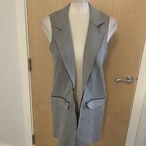 Ladies Grey and Black Long Blazer Style Jacket Size 8 Topshop Photo