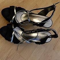 Ladies Guess Black Satin / Silver Straps Stiletto  Platform High Heels Sz 8 Photo