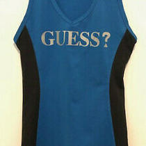 Ladies Guess Sleeveless Active Top in Blue/black Size Xs Photo