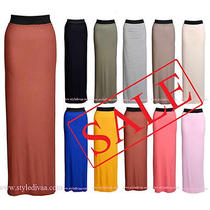 Ladies Gypsy Maxi Skirt Plain Long Jersey Bodycon Women Elasticated Dress Skirts Photo