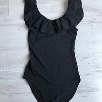 Ladies h&m Bodysuit Black Frilly Scoop Neck Sleeveless Vest Top Size Xs 6 Photo