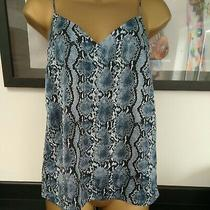 Ladies h&m Vest Top Snake Skin Look Blue Black Us 2 Uk 8  15