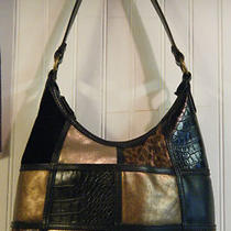 Ladies Handbag - Black With Animal Print Gold's and Brown's Photo