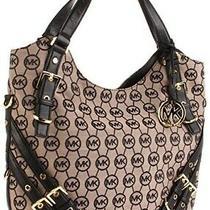 Ladies Handbag Michael Kors Milo Mono Shoulder Tote Beige/ebony/mocha/buckles Photo