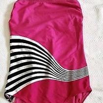 Ladies Hot Pink & Black One Piece Swimsuit by Gottex Sz 14. Lknw Photo