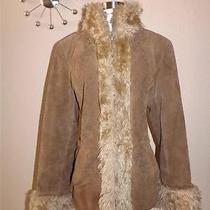 Ladies Jacket Coat Brown Suede Shearling Vtg 70s Lamp Hippie Chic Boho L Fur Photo