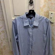 Ladies Lands End Blue Stripe No Iron Button Down Blouse Sz 16  Photo