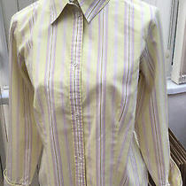 Ladies Liz Claiborne Fitted Shirt Yellow/lilac Stripe With Double Cuffs Size 12 Photo