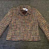 Ladies Lk Bennett Wool Tweed Blazer Jacket Size 14 Brown Neutrals Photo