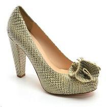 Ladies Loeffler Randall Belinda Snake Pumps 7 B Tan Leather Heels Shoes Italy Photo