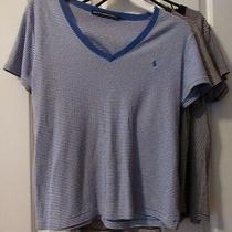 Ladies Lot of 3 Ralph Lauren Sport Blue  Brown & Black Stripe Tops  Size Xl Photo