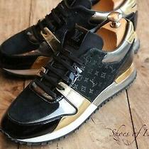 Ladies Louis Vuitton Runaway Black Gold Silver Trainers Sneakers Uk 5 Eu 38 Photo