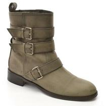Ladies Madewell 1937 Triple Buckle Biker Ankle Boots 9 Gray Leather Bootie Shoes Photo