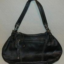 Ladies Maxx New York Solid Black Pebbled Leather Zip 1 Strap Shoulder Hobo Purse Photo