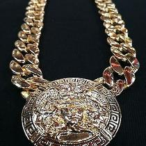 Ladies Medusa Head Greek Versace Style Gold Tone Necklace Photo
