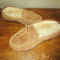 Ladies Minnetonka Tan Brown Chestnut Suede Moccasin Hard Sole Slippers 8  Photo