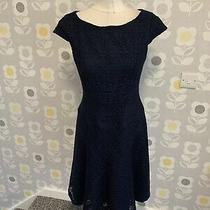 Ladies Navy Blue Floral Crochet Design Dressy Style Dress Size 8 Anne Klein Photo