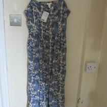 Ladies New Midi Strappy Dress by H and M in Blue Paisley Design. Size 14. Photo
