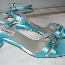 Ladies New  Prom/ Bridesmaid/dressy Heels Size 7 1/2b Aqua Straps Dyeables Photo