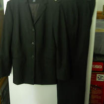 Ladies Nice Pants Suit Size 8p Ann Taylor Black With Pin Strip Looks Great Photo