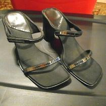 Ladies  Nine West Shoes Size 6 M Black Slides Strappy  Dressy  3 1/4