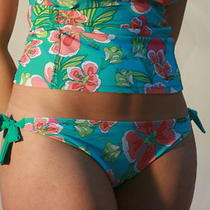 Ladies Plus Size Multi Aqua Band Detail Bikini Bottoms 1358 Photo
