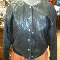 Ladies Quilted  Black Leather Jacket Express Size Small   Photo