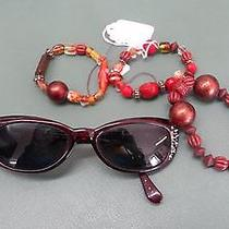 Ladies Red Bling Cat Eye Fossil Sunglasses With 3 New Stretchy Bracelets 4p Lot Photo