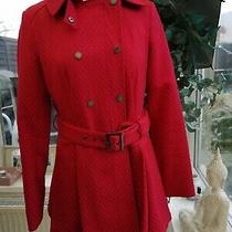 Ladies Red French Connection Double Breasted Swing Coat Size 8 Zip Closure Vgc Photo