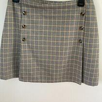 Ladies Red Herring Tan Checked Mini Skirt Size 14 Fully Lined Excellent Con Photo