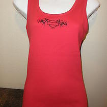 Ladies Red Ribbed Fitted Tank Cool Cotton Harley Davidson S Photo