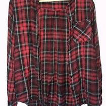 Ladies Red Tartan Topshop Shirt Buttoned Long Sleeve Size 8 Photo