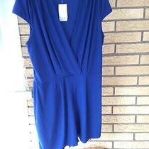 Ladies Romper Beautiful Dressy v Neck Color Blue Size Xl Cap Sleeve. Photo