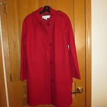 Ladies See by Chloe Red Button-Up Wool Knee Length Coat Size 8 Photo