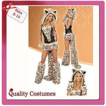 Ladies Sexy Leopard  Deluxe Fancy Dress Costume Size 8 -10 Photo