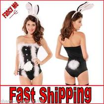 Ladies Sexy Marabou Trimmed Bunny Hostess Lingerie Fancy Dress Costume Outfit Photo