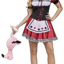 Ladies Sexy Queen of Hearts Fairytale Fancy Dress Costume Size 8/10 Photo