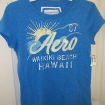 Ladies Shirt-Size L-Blue With Green White Yellow-From Aeropostale-Nwt Photo