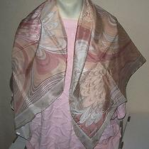 Ladies Silk Scarf  Avon Silkscreen  Mauve Pink Cream  Square 32x 33  Nib Photo
