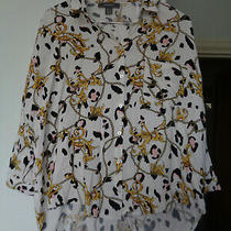 Ladies Size 6 Versace Style Blouse Top 3/4 Sleeve Photo
