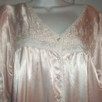 Ladies Size M Christian Dior Pink Long Embroidered Flowers Lingerie Nightgown   Photo