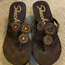 Ladies Skechers Platform Jeweled Sandals / Flip Flops in Brown Size 9 Photo