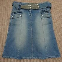 Ladies Skirt. Topshop Moto. Size 12 Eur 40. Light Blue Distressed Denim. Belt. Photo