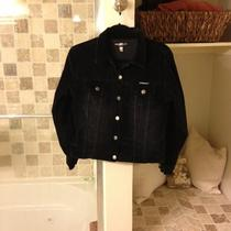 Ladies Small Parker Jeans Black Velvet/velvetine Jacket Photo